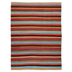 Contemporary Kilim, Geometric Design, Multi-Color