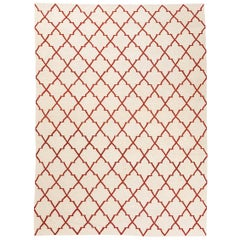 Contemporary Kilim, Geometric Design with Red and Beige Colors
