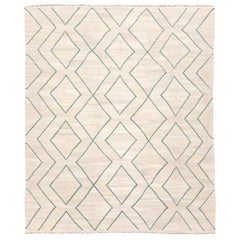 Contemporary Kilim, Geometries Design, Green Rhombuses over a Beige Wool