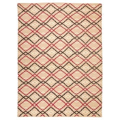 Contemporary Kilim Handmade Flat-Weave Wool Rug Brown and Pink