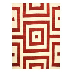 Contemporary Kilim, Handmade Flat-Weave, Red Colors