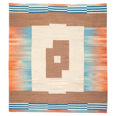 Contemporary Kilim Handmade Flat-Weave Wool Rug