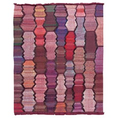 Contemporary Kilim Handmade Multicolor Geometric Wool Rug
