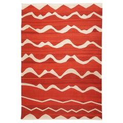 Contemporary Kilim Made of Wool on Colors Red and Beige