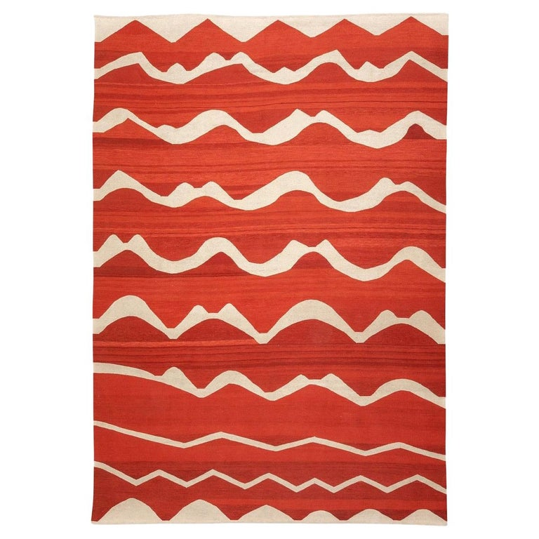 Contemporary Kilim Made of Wool on Colors Red and Beige For Sale