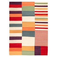 Contemporary Kilim, Multi-Color Design over Wool