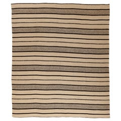 Contemporary Kilim Persian Rug in Beige with Black and Brown Stripes