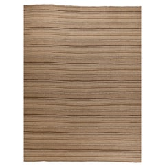 Contemporary Kilim Persian Rug with Rustic Brown and Black Stripes