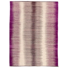 Contemporary Kilim, Purple and Gray Colors over Wool Design