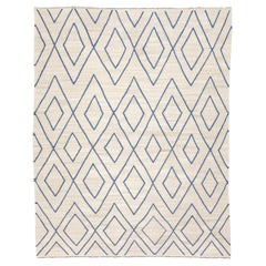 Contemporary Kilim, Rombus Design over Beige and Blue Colors.