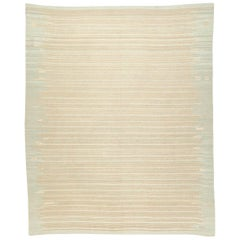 Contemporary Kilim, Soft Colors Design with Lines Handmade in Wool