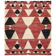 "Contemporary Kilim, ""Susani"" Design over Red, Black and Beige Colors"