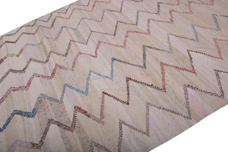 Turkish Contemporary Kilim Wool Beige Brown Chevron Pattern by Rug & Kilim For Sale