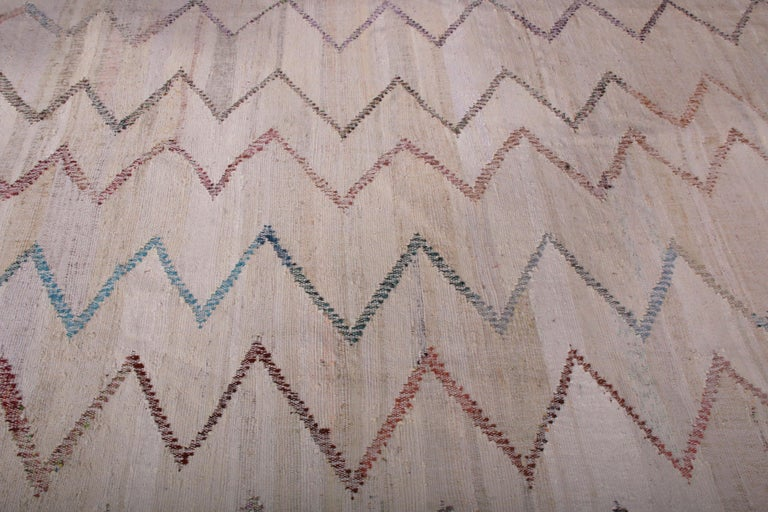 Contemporary Kilim Wool Beige Brown Chevron Pattern by Rug & Kilim In New Condition For Sale In Long Island City, NY