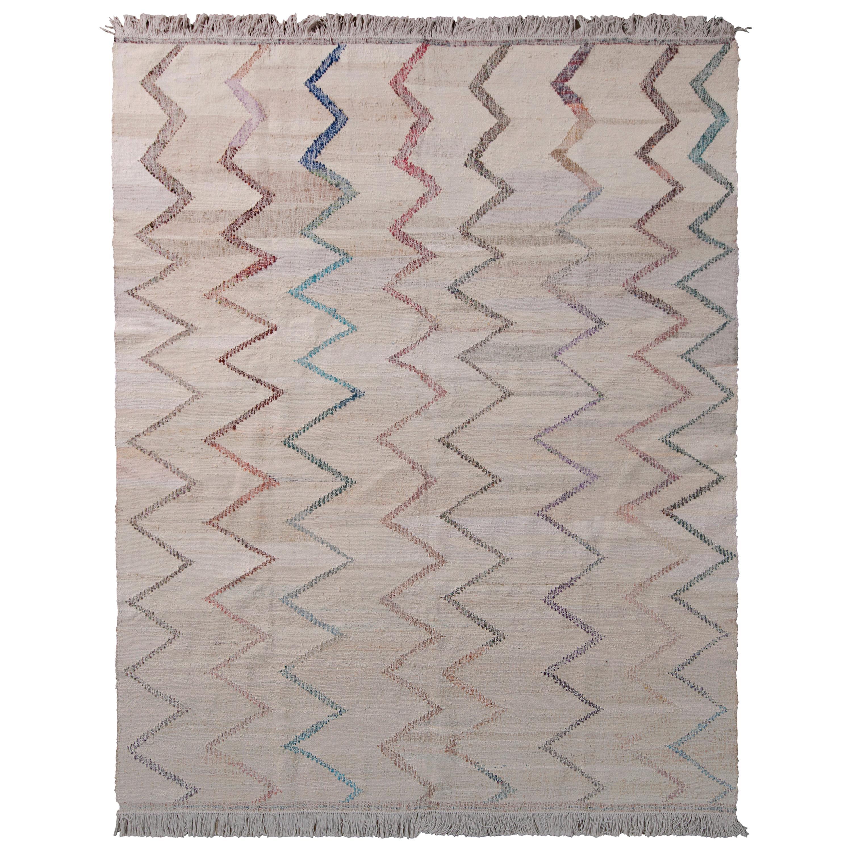 Rug & Kilim's Contemporary Kilim Wool Beige Brown Chevron Pattern