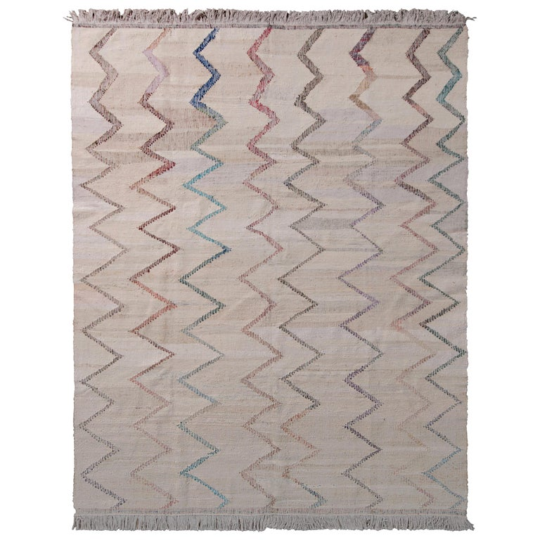 Contemporary Kilim Wool Beige Brown Chevron Pattern by Rug & Kilim For Sale