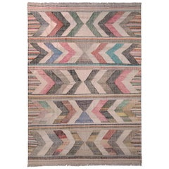Contemporary Kilim Wool Beige Pink Chevron Arrow Pattern