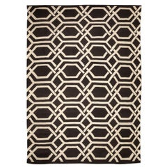 Contemporary Kilim Wool, Design with Geometries on Black and White Colors