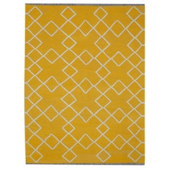 Contemporary Kilim, Yellow Geometric Design
