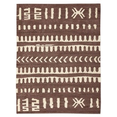Contemporary Killim, Brown and Beigafrican Flat-Weave, Etnhic and Tribal Design