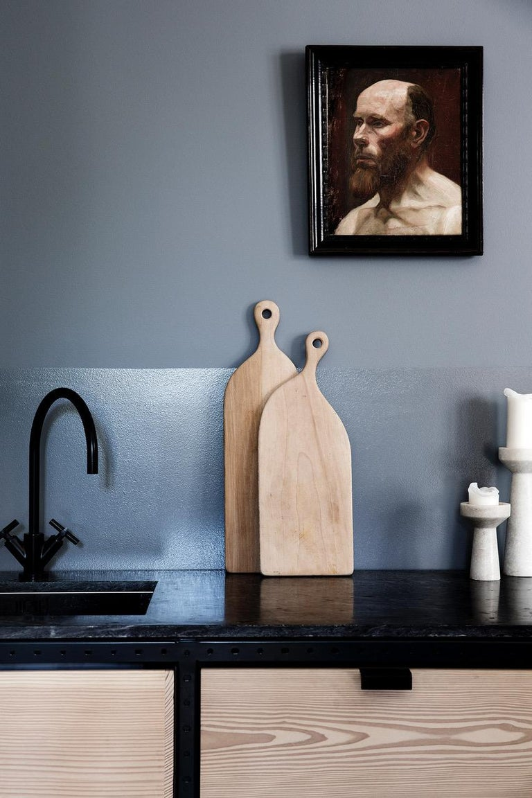 Scandinavian Modern Contemporary Kitchen Unit A in Solid Douglas Fir, Marble and Steel Frame For Sale