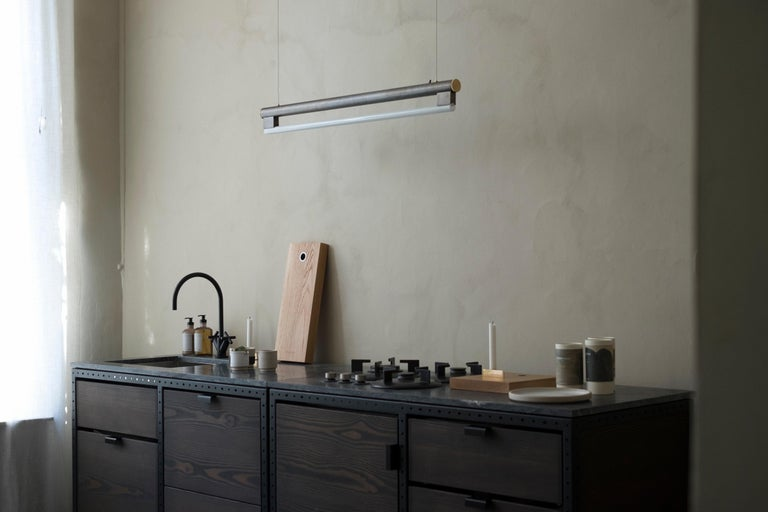 Danish Contemporary Kitchen Unit A in Solid Douglas Fir, Marble and Steel Frame For Sale
