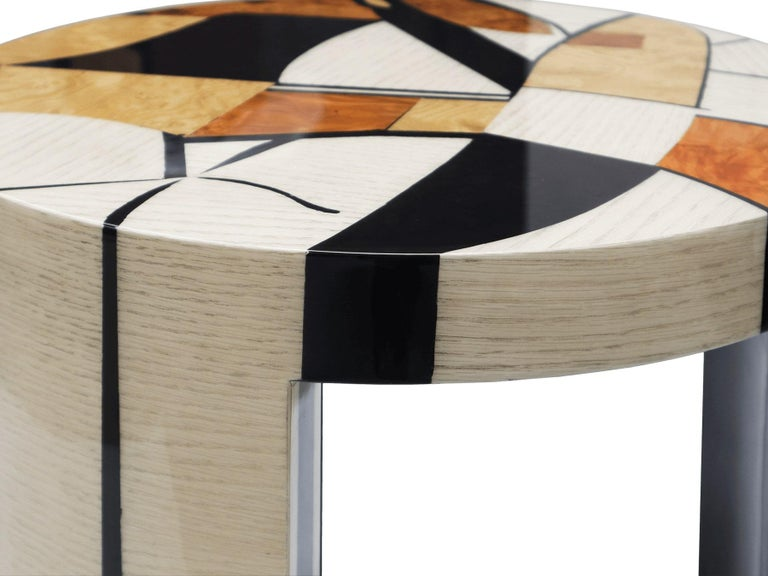 Modern Contemporary Klimt Side Coffee Center Table in Wood Marquetry For Sale