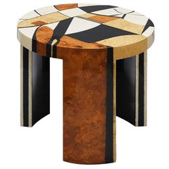 21th Century Contemporary Klimt Side Coffee Center Round Table in Wood Marquetry