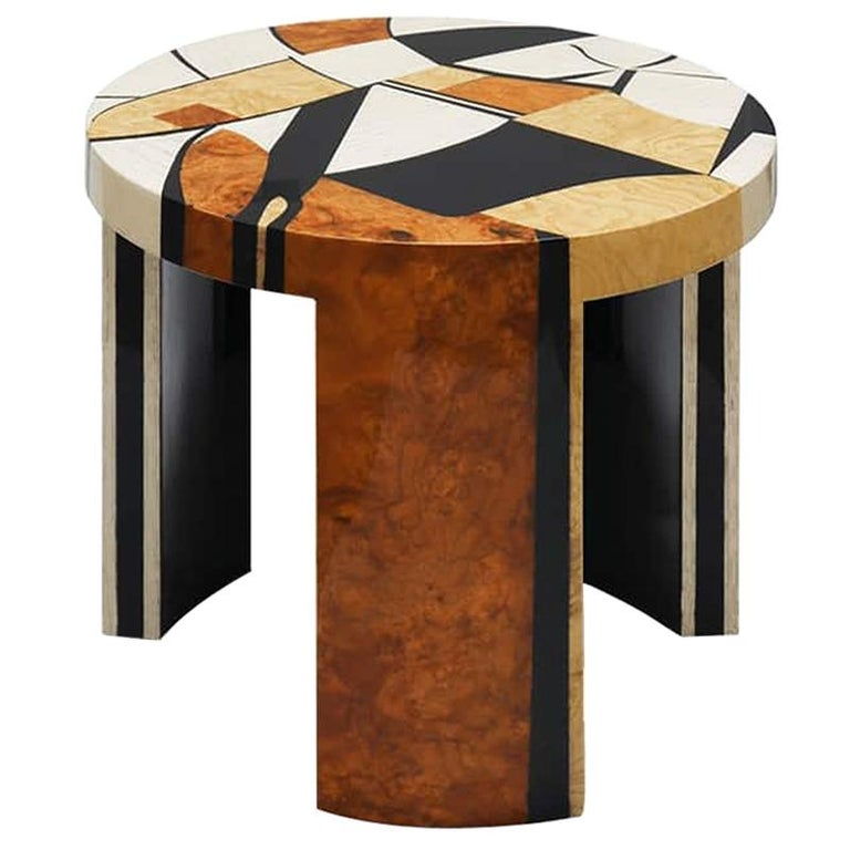 Contemporary Klimt Side Coffee Center Table in Wood Marquetry For Sale