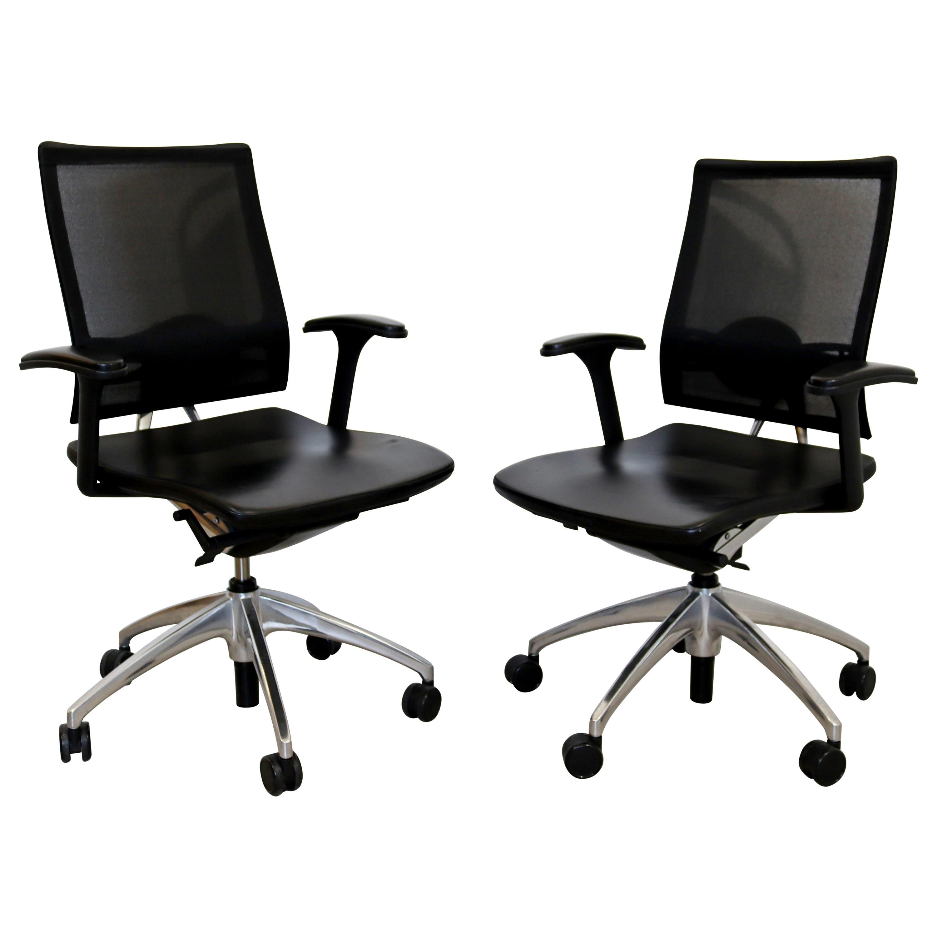 Contemporary Knoll Pair Black & Chrome Rolling Swivel Adjustable Office Chairs