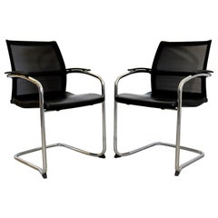 Contemporary Knoll Pair Chrome Cantilever Black Dining Conference Office Chairs