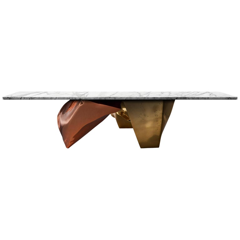 Marble Coffee Table With Copper Legs: Contemporary Krafla Coffee Table In Marble, Brass, Copper