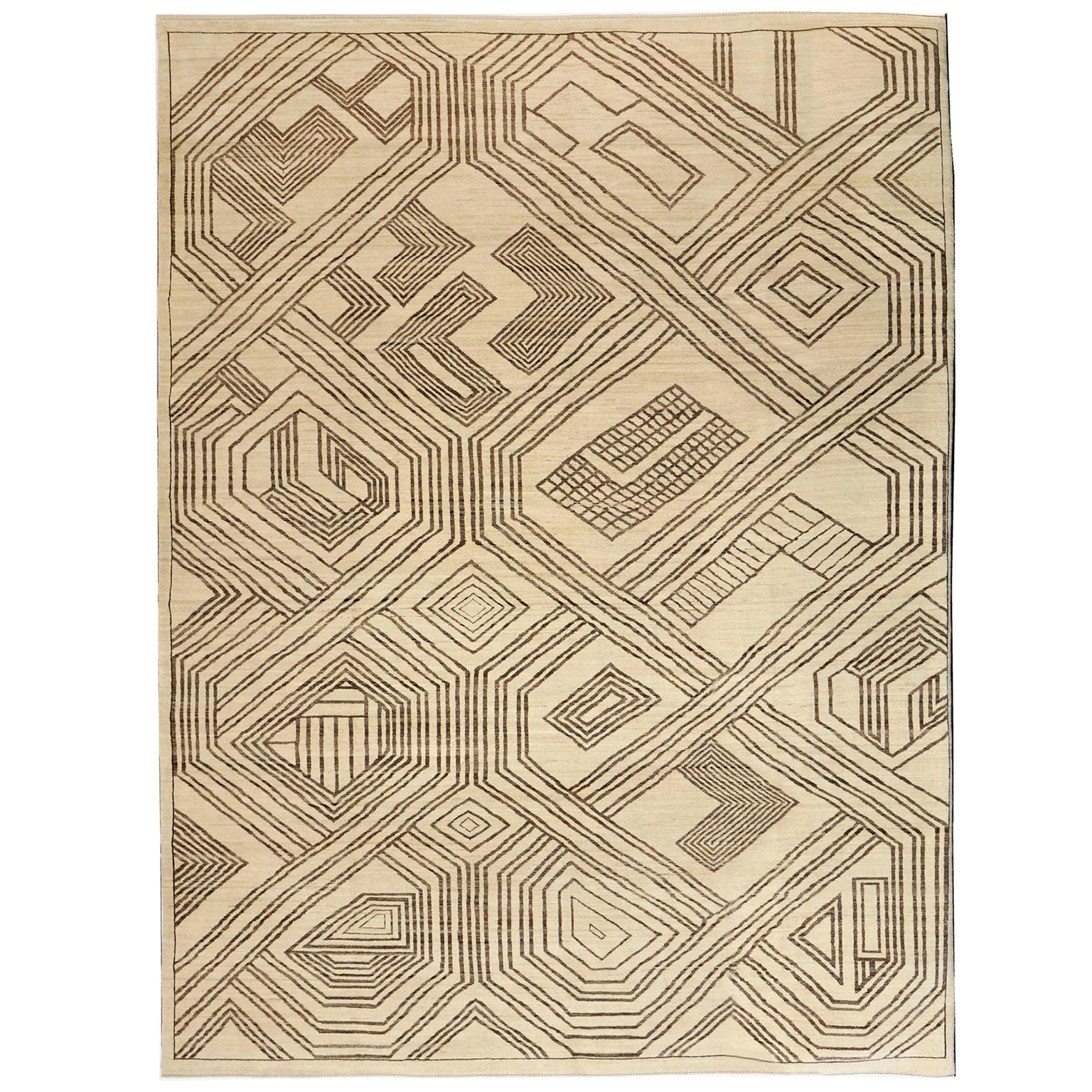 Contemporary Kuba Wool Area Rug in Neutral Tones in Cream and Brown