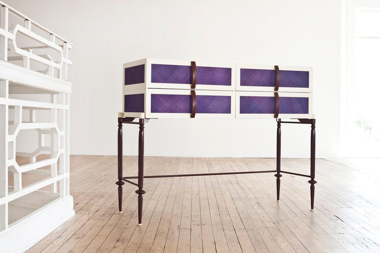 Contemporary Lacquer Wood with Panels of Woven Straw Dresser by Luis Pons For Sale 3