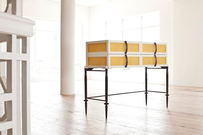 Dyed Contemporary Lacquer Wood with Panels of Woven Straw Dresser by Luis Pons For Sale