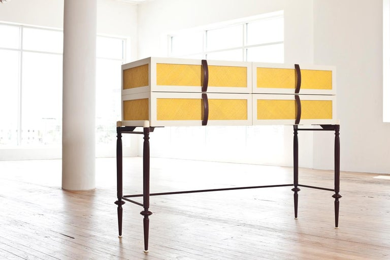 Modern Contemporary Lacquer Wood with Panels of Woven Straw Dresser by Luis Pons For Sale