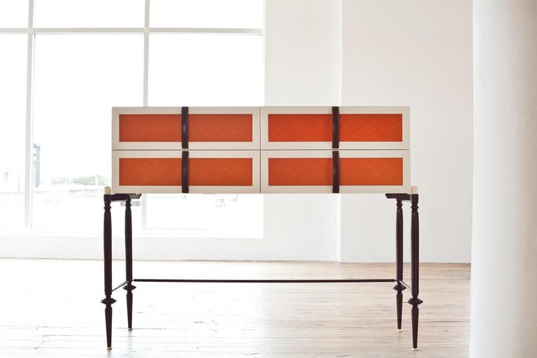 Contemporary Lacquer Wood with Panels of Woven Straw Dresser by Luis Pons In New Condition For Sale In Miami, FL