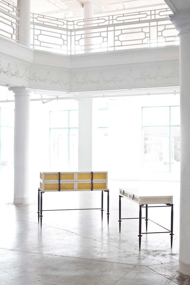 American Contemporary Lacquer Wood with Panels of Woven Straw Dresser by Luis Pons For Sale