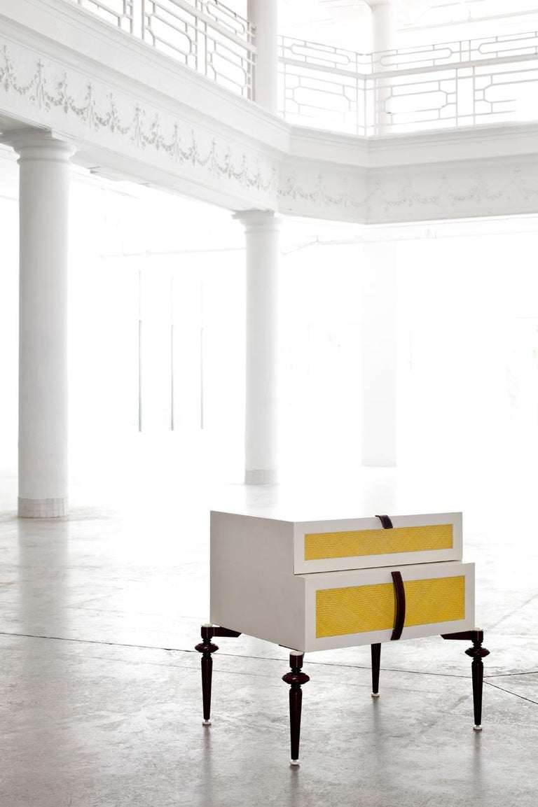 American Contemporary Lacquer Wood with Panels of Woven Straw Nightstands by Luis Pons For Sale