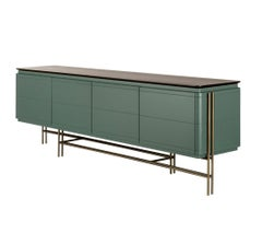 Contemporary Lacquered Sideboard/Antique Brass Base