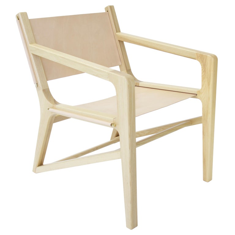 """Contemporary """"Lane"""" Leather, Brass & Wood Sling Chair by Alex Drew & No One For Sale"""