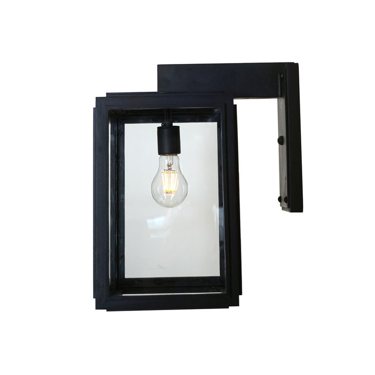 Offering a streamline contemporary design the Bel Air lantern was inspired by a modern estate in Bel Air. It incorporates a modern look with a modern day handmade quality.  All lanterns go through a metalizing process, a protective zinc layer