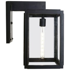 Contemporary Lantern with Straight Lines, Wrought Iron Outdoor Light, Grey