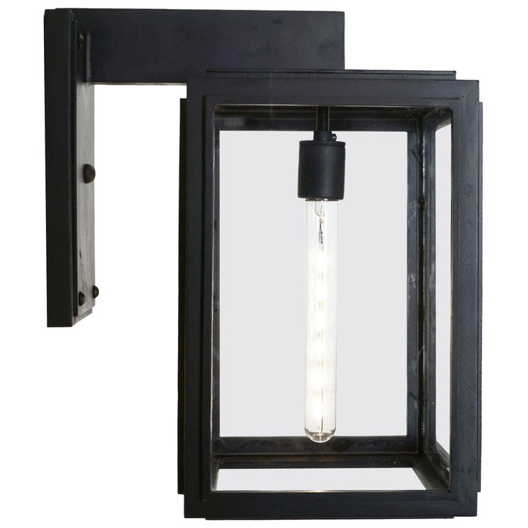 Contemporary Lantern with Straight Lines, 4-Sided Wrought Iron Outdoor Light For Sale
