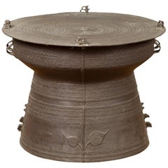 Contemporary Laotian Style Bronze Rain Drum with Geometric and Foliage Motifs