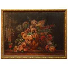 Contemporary and Large Antique Style Floral Still Life Oil on Canvas Print