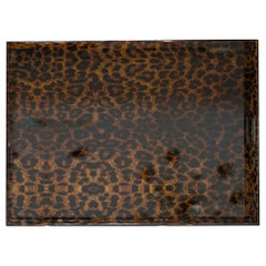 Contemporary Large Brown Leopard Print Acrylic Tray