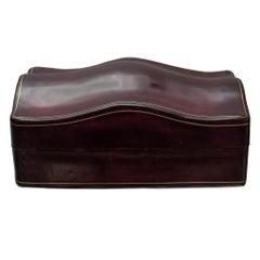 Contemporary Large Burgundy Leather Box with Red Velvet Lining