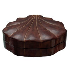 Contemporary Large Burgundy Leather Shell Box with Brown Velvet Lining