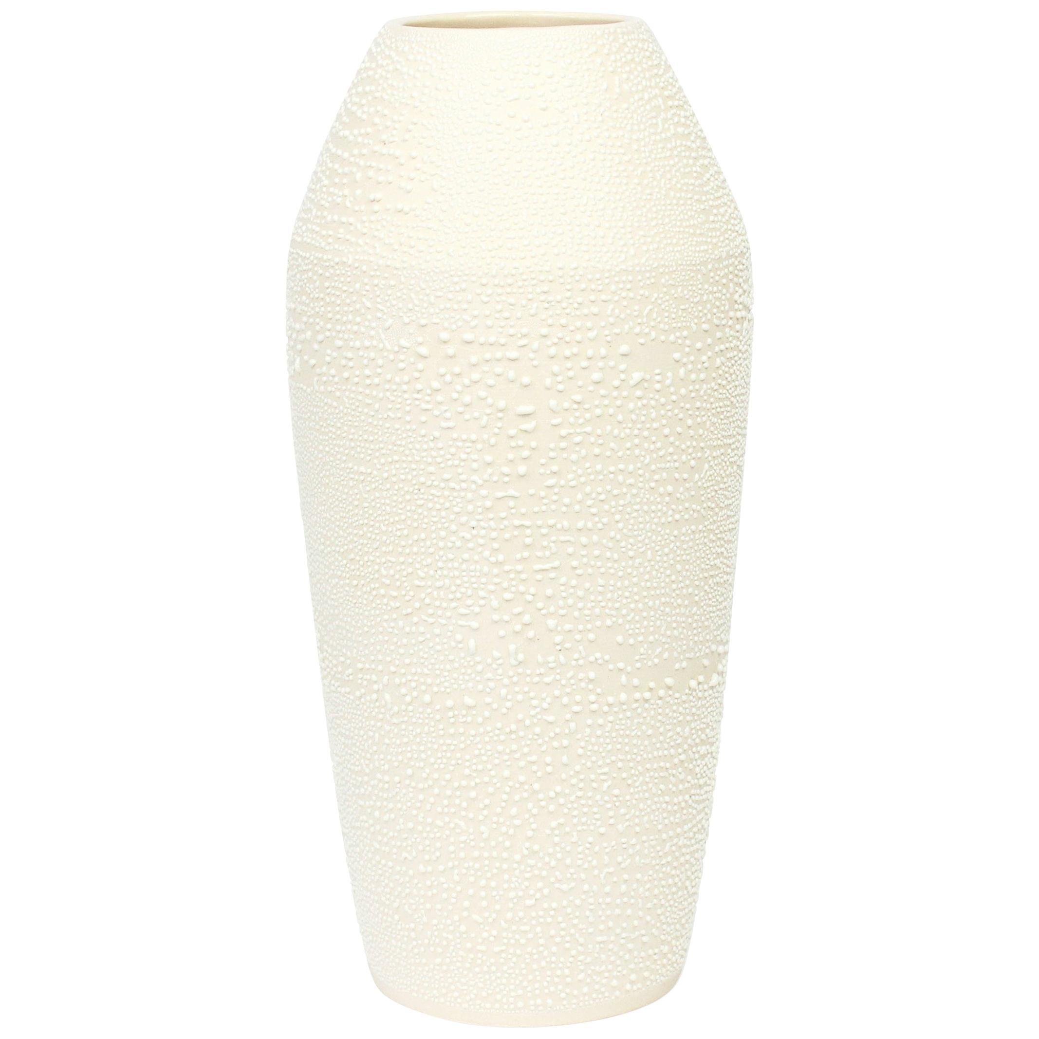 Contemporary Large Dew Vase #1 White Ceramic and Glaze, Handmade